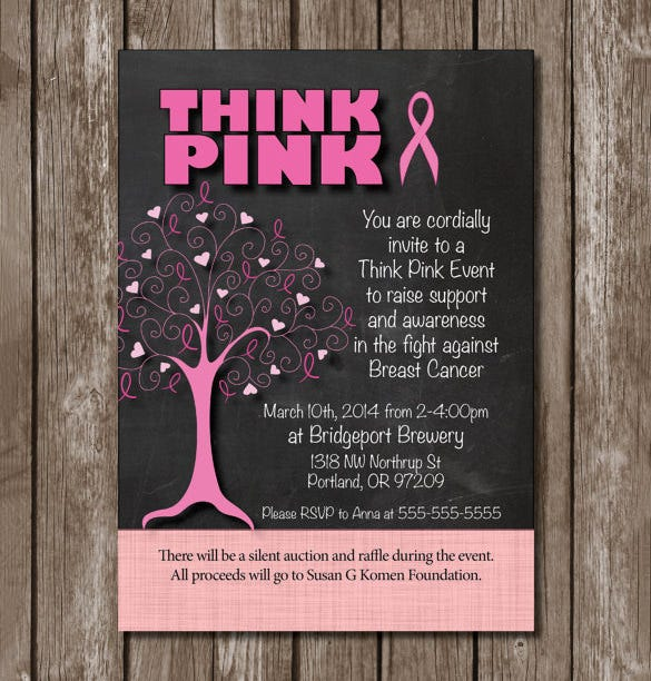 Fundraiser invitation template 16 free psd vector eps ai fundraising event invitation for think pink 12 stopboris Images