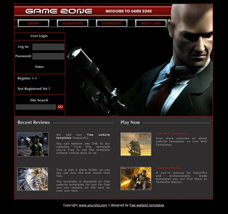 game zone free css template 788x741