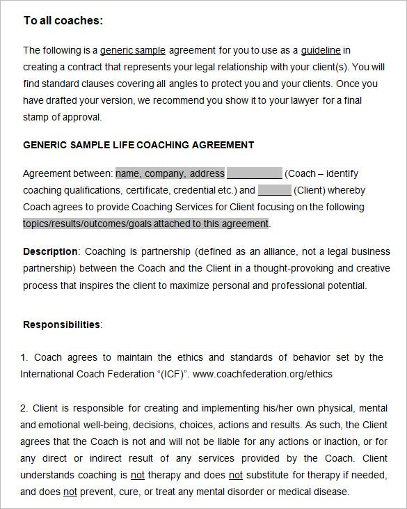 generic sample life coaching agreement