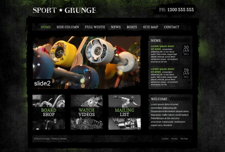 gallery video supported sport psd website template 788x532