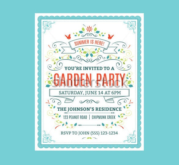 14+ Printable PSD Garden Party Invitation Templates & Designs ...