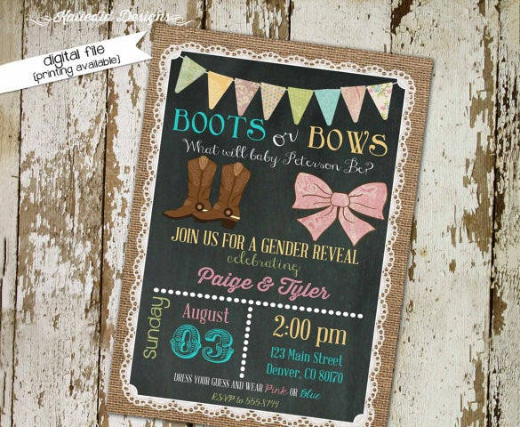 gender reveal invitation boots or bows 13