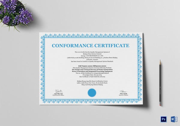 general professional comformance certificate template