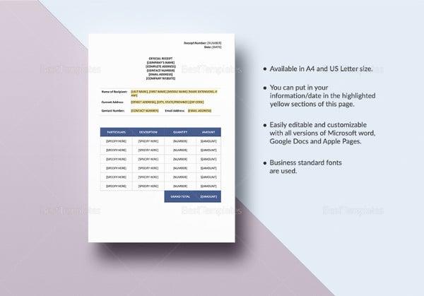 14 construction receipt templates doc pdf free premium templates