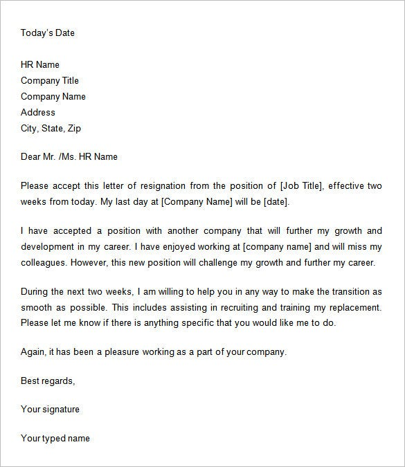 giving two weeks notice letter in doc - Example Of Letter Of Resignation Two Weeks Notice