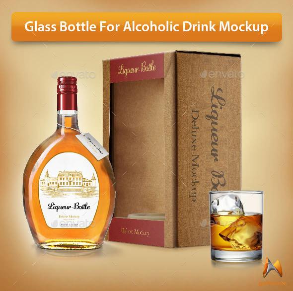 glass bottle psd mockup template