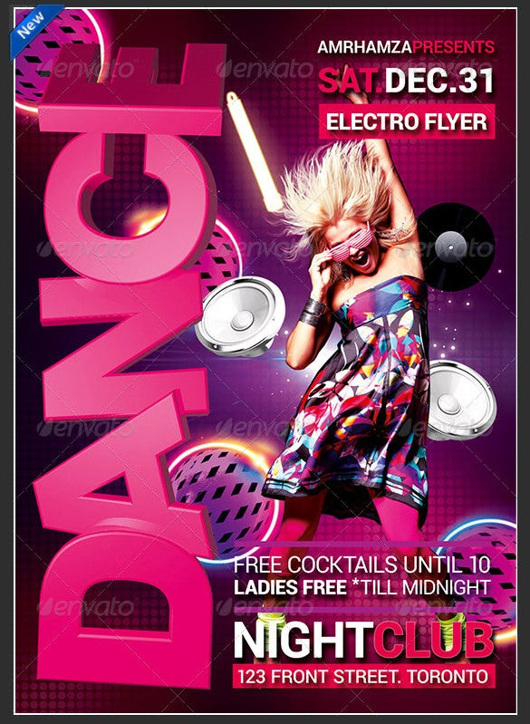 glow dance party poster with 3d look