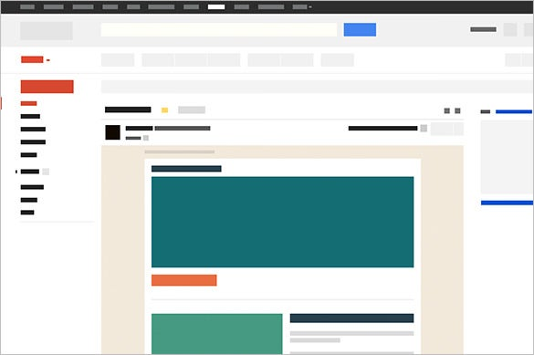 gmail wireframe psd blank email template