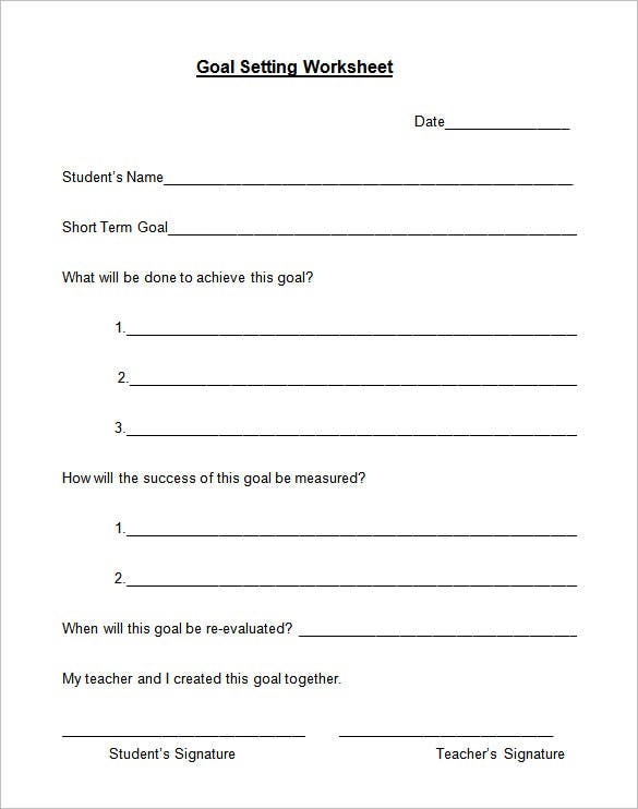 goal setting worksheet format download