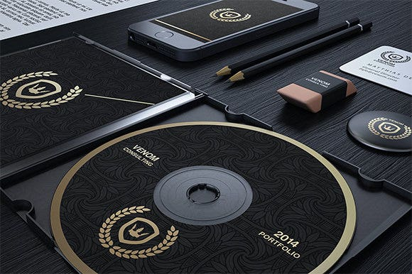 gold and black corporate identity cd label