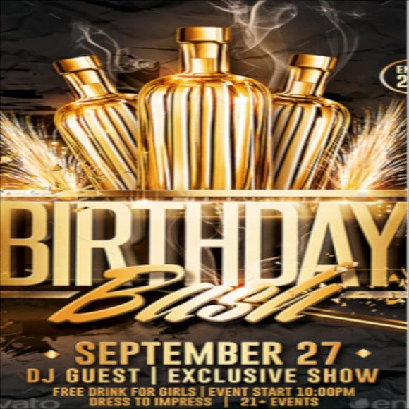 gold birthday bash flyer template