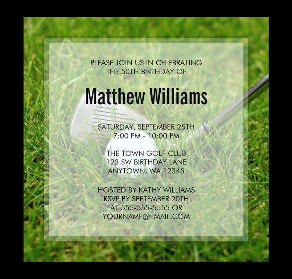 golf birthday paper invitation template free