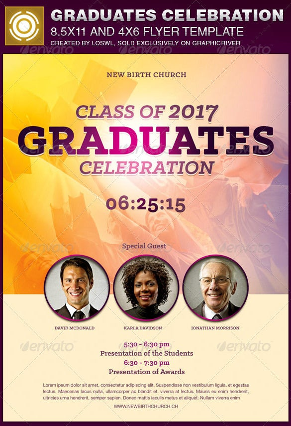 graduates celebration academic flyer template