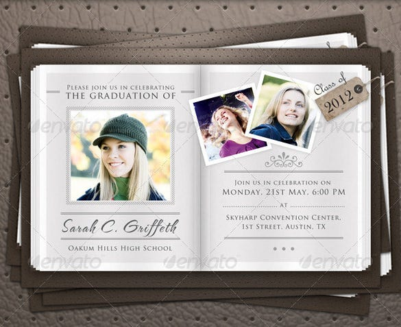 graduation announcement flyer template psd