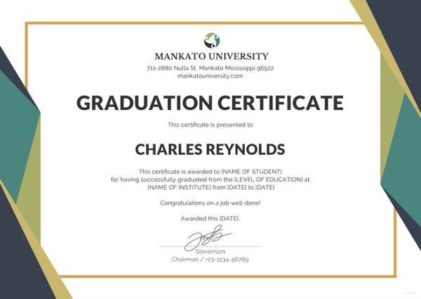 18 graduation certificate templates word pdf documents download graduation certificate template yadclub Choice Image