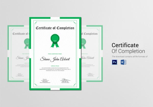 graduation completion certificate psd template