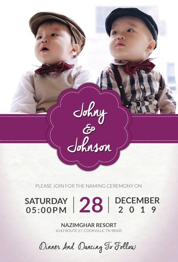 grand baby boy naming ceremony invitation