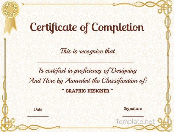 Free Certificate Template 65 Adobe Illustrator Documents – Template Certificate of Completion