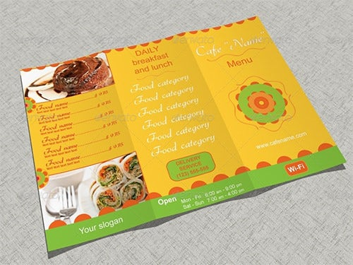 green cafe menu template