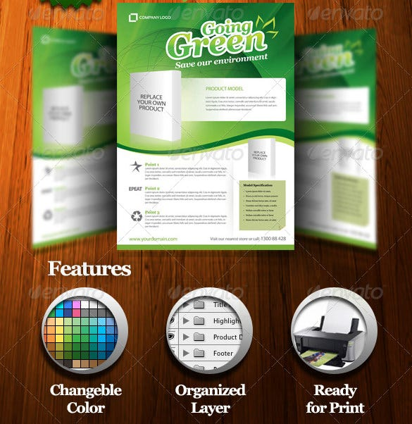 green product flyer template