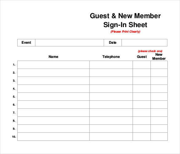 guest new member sign in sheet