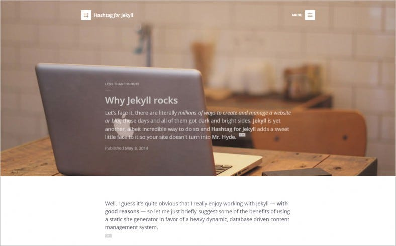 HTML5 & CSS3 Jekyll Elegant Blog Theme