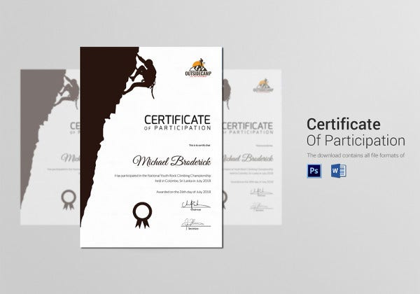 hard rock climbing participation certificate