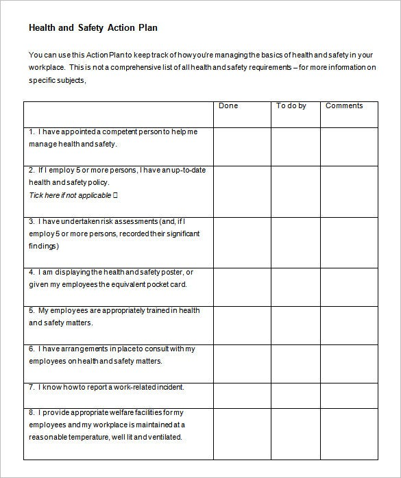 Health And Safety Action Plan Word Doc Download  Action Plan Template Free