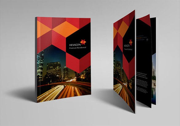 hexagon hotel brochure design template