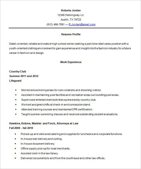 high school resume template word format - Sample College Resumes For High School Seniors