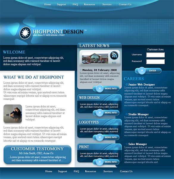 highpoint free psd website template
