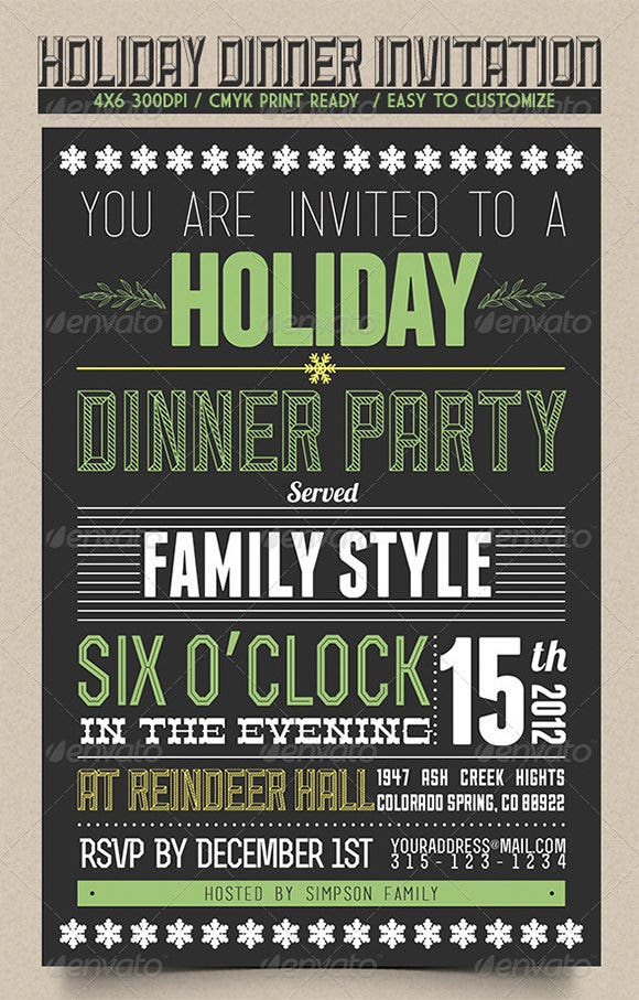 holiday dinner invitation