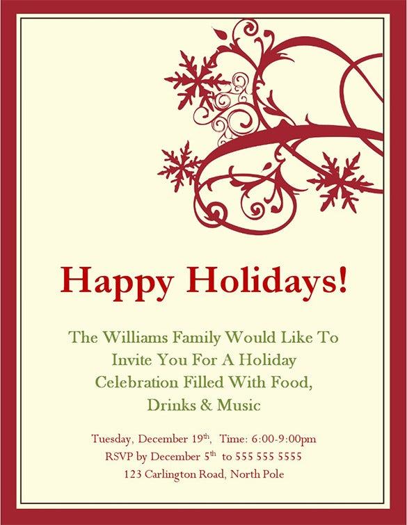 holiday invitation template free download