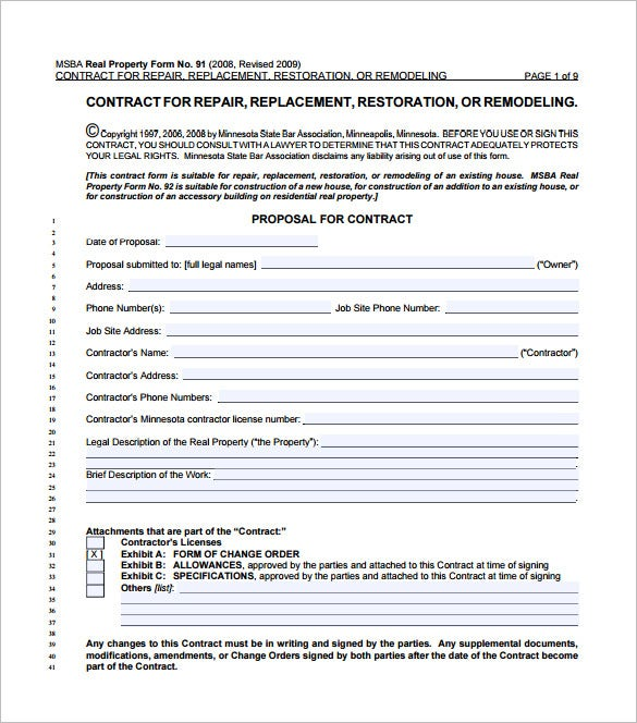 Home remodeling contract template 7 free word pdf for Order of subcontractors when building a house