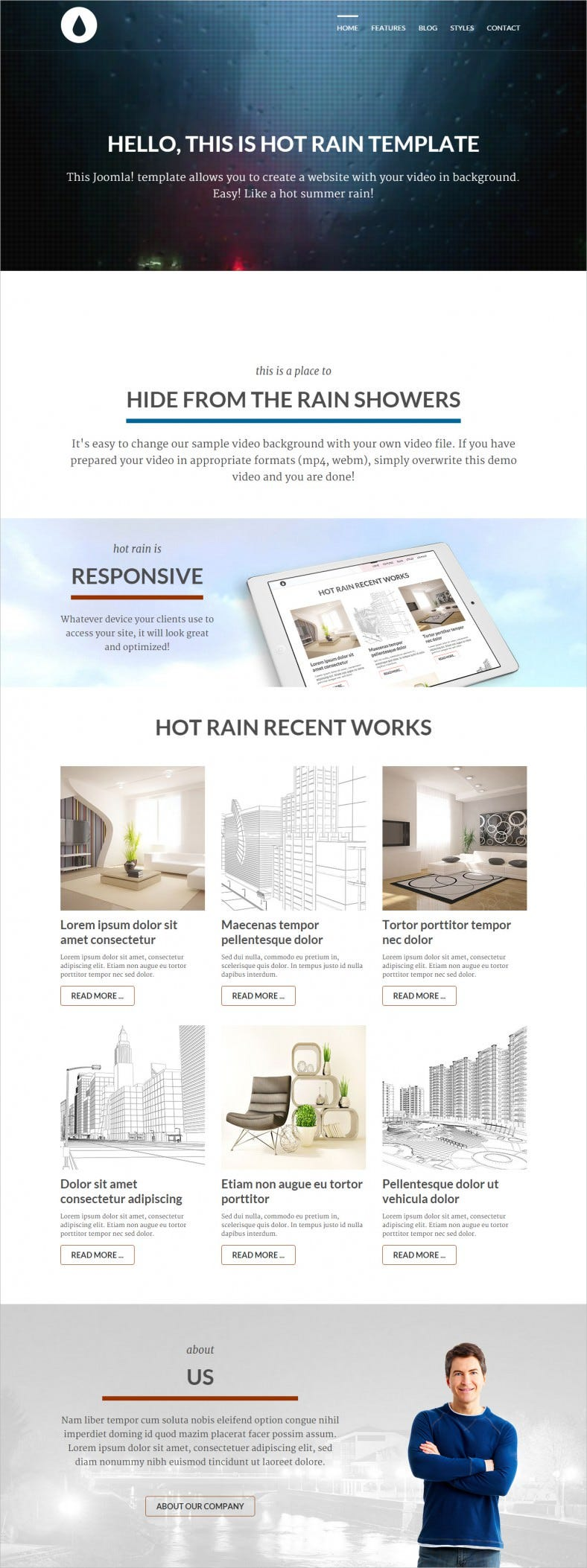 hot rain template with video background 788x2106