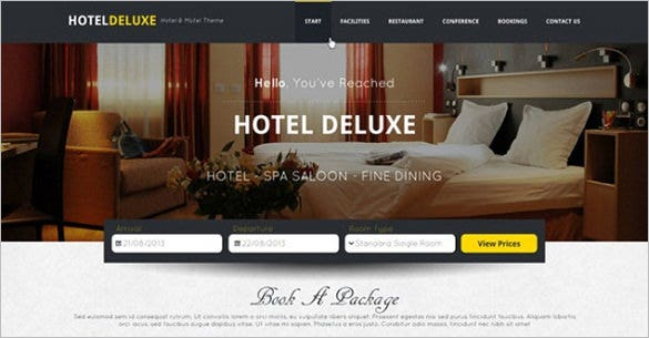 hotel deluxe free psd website template