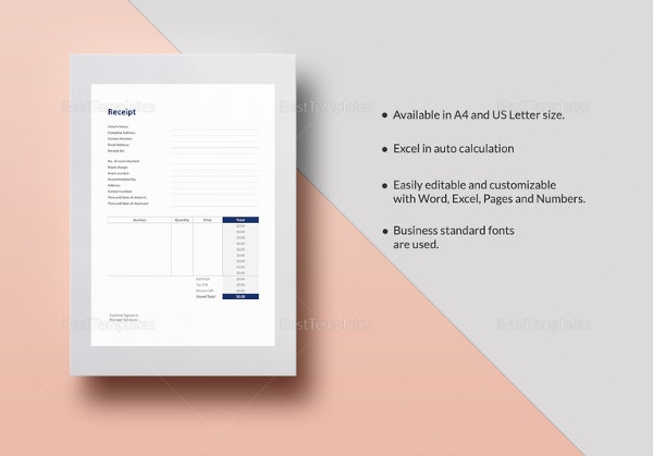 Hotel Receipt Template Free Word Excel PDF Format Download - Create your own invoice free streetwear online store