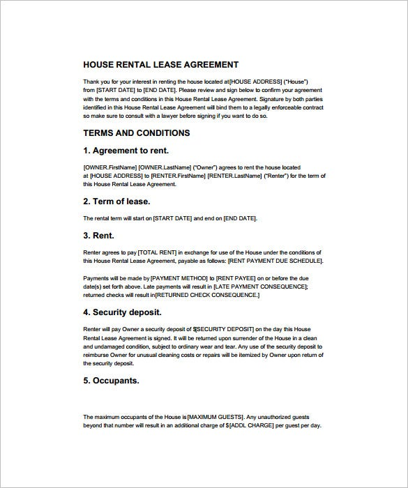 house rental lease contract template