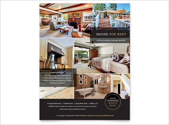 House For Rent Flyer Template  Home For Sale Brochure