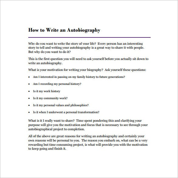 23 autobiography outline templates samples doc pdf for Writing a will template free
