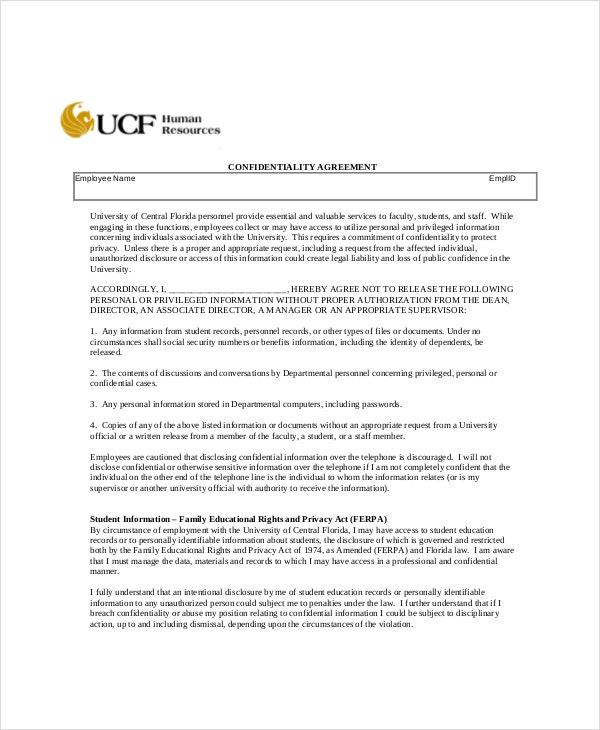 Human Resources Confidentiality Agreement 10 Free Word Pdf