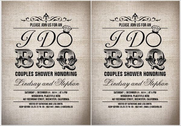 i do bbq burlap couples shower invitation