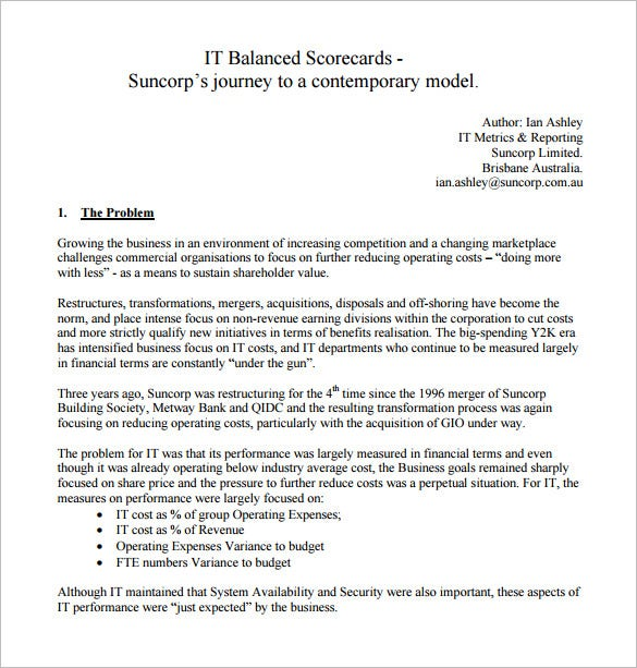 it balanced scorecard template