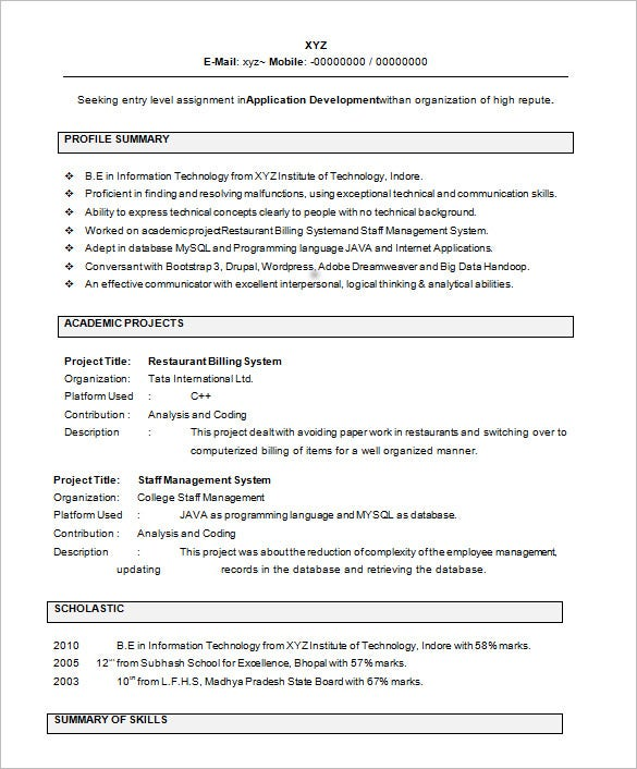 it freshers resume template - Sample Resumes For Freshers