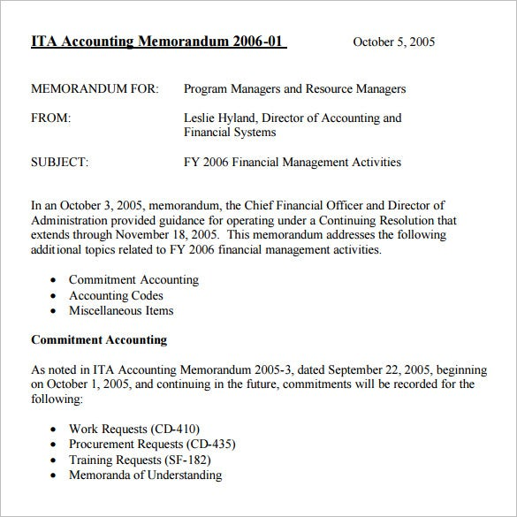 6  accounting memo templates  u2013 free word  pdf documents