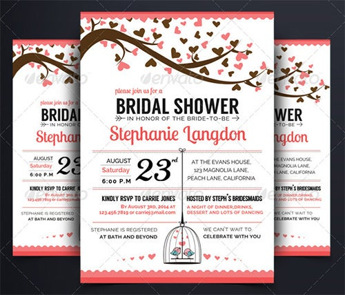 illustrated bridal shower invitation