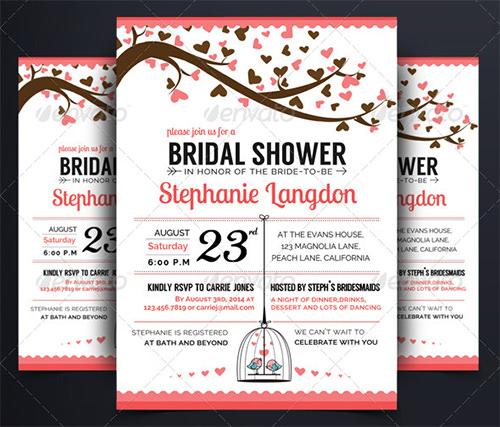 Bridal Shower Invitations Templates PSD Invitations Free - Bridal shower flyer template