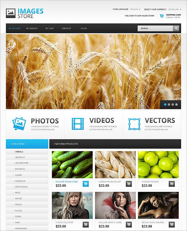images store magento theme