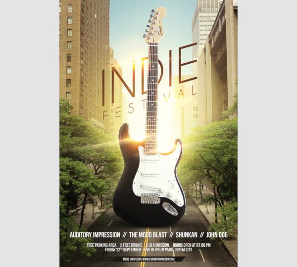 indie festival concert flyer template