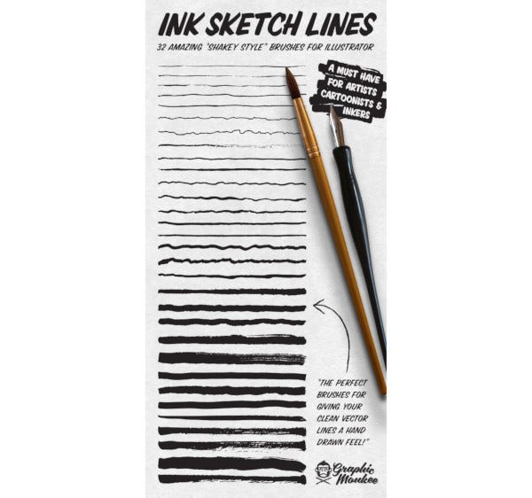 ink sketch illustrator brushes1